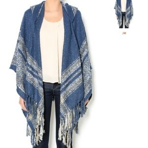 Simply Noelle Poncho Sweater Hooded Cardigan Blue